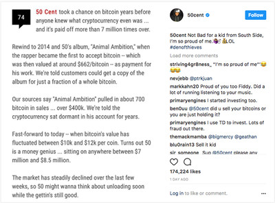 50 Cent Bitcoin Post