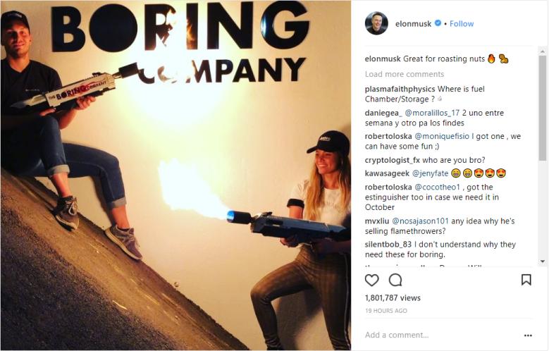 Flamethrower Boring Company Instagram Post